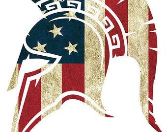 "5.75 x 4.5"" SPARTAN MOLON LABE 5 American Flag ShapeDie Cut Decal Sticker"
