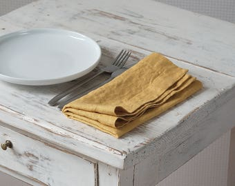 Linen Napkins - Stone Washed Linen Napkins - Handmade Linen Napkins - Rustic Wedding Napkins - Yellow Linen Napkins set of 2, 4, 6, 8, 12