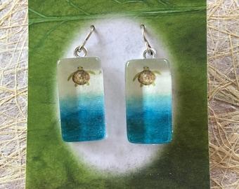 ttams - glass tile earrings - turtle
