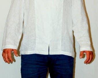Linen shirt men.White linen shirt.Loose fit shirt.Lithuanian linen shirt.Wedding shirt.designed and made by AnBerlinen/gift for him