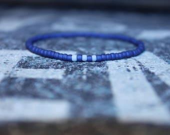 Blue Bracelet, Men's Beaded Bracelet,Men Seed Bead Bracelet,Men's Stretch Bracelet, Mens gift for him Husband Gift , Mens Seed Bead