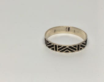 Modern Design Ring, Sterling Silver Size 9