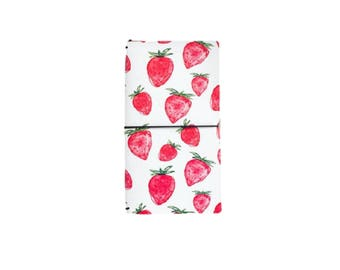 Strawberry Faux Leather Notebook, Refillable Journal, Faux Leather Journal, Fauxdori - PJ295