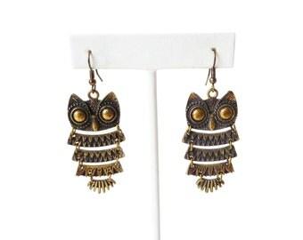 Brass Owl Earrings | Vintage Dangle Earrings | Mid Century Earrings | Owl Jewelry | Bird Jewelry | Vintage Earrings | Unique Gift for Her