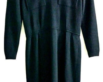 Vintage St. John for Saks 5th Avenue black knit dress size 6 made in USA 1980s 1990s