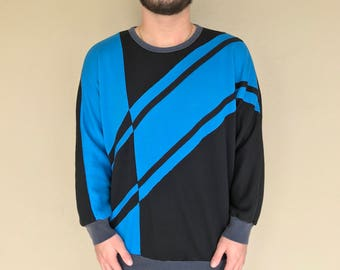 Vintage 90s Colorblock Sweatshirt Retro 80s Fresh Prince Hip Hop Sweater Medium Blue Black
