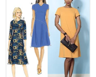 Sewing Pattern for Misses' Dresses w/ Hip Detail, Neck Sleeve Variations, Butterick Pattern 6480, Fast & EASY, New Fall Line
