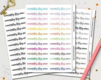 Pay Day Word Planner Stickers | Header Planner Stickers