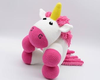 Unicorn plush, Fluffy stuffed unicorn, crochet pink unicorn, Toddler toy, Amigurumi gift, plushie unicorn
