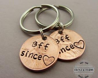 Custom BFF Since Penny Keychain, Lucky Penny Keychain, Best Friend Gift, BFF Gift, Girlfriend Gift, Besties Gift, Bff Since, Bff Keychain