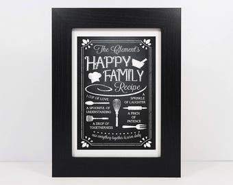 Framed Personalised Family Recipe Mothers Day Print | Family Frame | Gift For Mum | Family Wall Art | Mothers Day Gift | Gift For Grandma