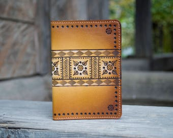 Handmade Mens Leather passport cover  with ornament | Mens passport holder, leather passport, pattern passport case for man, gift for him