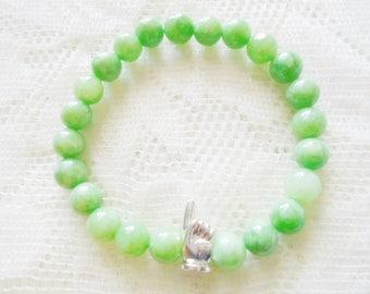 Peridot Jasper & Silver hand Mala bracelet, Healing Gemstone bracelet