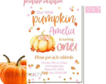 Pumpkin Birthday Invitation,Little Pumpkin Birthday Invitation, Pumpkin first birthday invitation,Fall Birthday Invitation,Digital File.