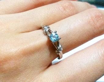 925 Sterling Sliver Round Aquamarine Ring, Retro, March Birthstone, Gift, Gemstone, Wedding, Victorian