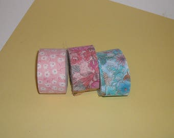 Vintage Fabric Ribbon Craft Supplies Sewing Three Rolls Old New Stock Floral Ribbon