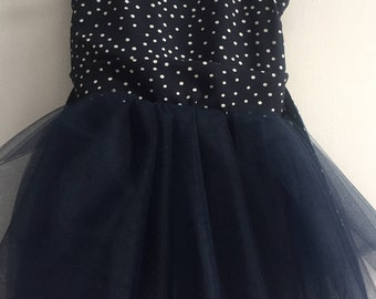Marie Dress (2T)- Navy and White Polka Dot Dress with TuTu skirt