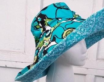 Women's Sun Hat floral green and aqua/blue reversible, Large Brim bucket hat women beach; Ready to Ship