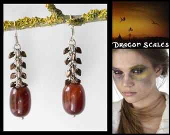 Dragon Scales Earrings - Brown Bronze Gemstone Long Dangle Cluster Ethnic Tribal Game of Thrones