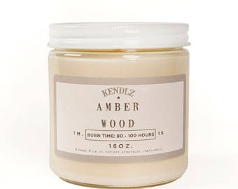 Amber Wood, Soy Candle, Gifts for her, Gifts under 30, Phthalate Free, Kendlz