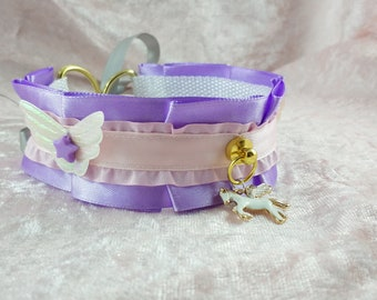 """12.5"""" // Pegasus // Purple and pink holographic winged collar"""