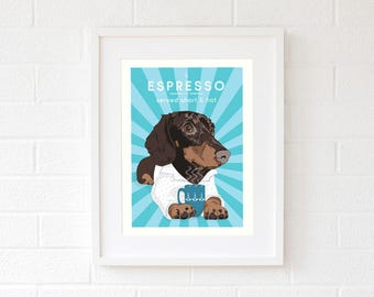 Dachshund gifts Wiener dog mom gift ideas Doxie art print Daxie wall decor dog lover gift for her gift-for-couples chocolate gift-for-bff