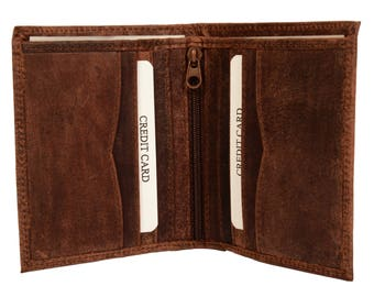 Leather card case holder Leather credit card wallet Small wallet Note Compartment Zip Pocket Hunter Premium Leather