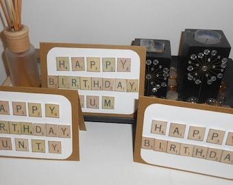 Birthday Scrabble Card Handmade