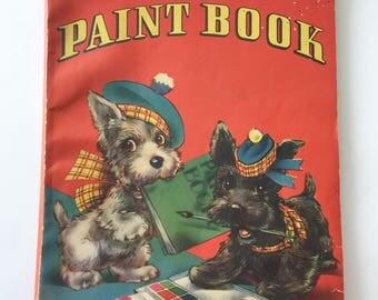 1941 FAVORITE PAINT BOOK Vintage Coloring Paint Book