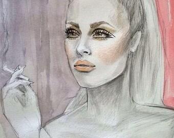 Original Watercolour Painting Sharon Tate 1960's Inspiration