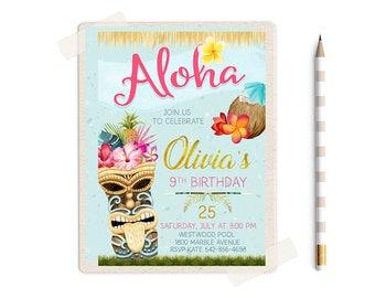 Hawaiian Party, Luau Birthday Invitation, Summer Birthday invitations, Luau Party, Luau Invitation, Pool Party Invitation, Aloha Invites,