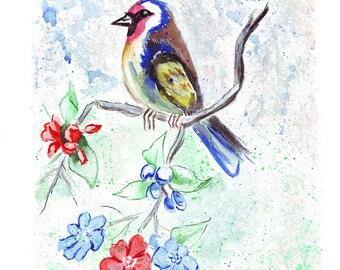 Exotic bird painted watercolor. Original watercolor painting art, small painting bird, bird watercolor illustration art, watercolor bird art