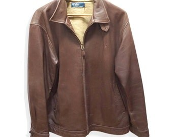 Chocolate leather jacket Ralph Lauren * mint condition * TL