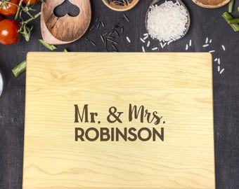 Personalized Cuttin Board, Engraved Cutting Board, Custom Cutting Board, Wedding Gift, Housewarming Gift, Anniversary Gift, Mr, Mrs, B-0052
