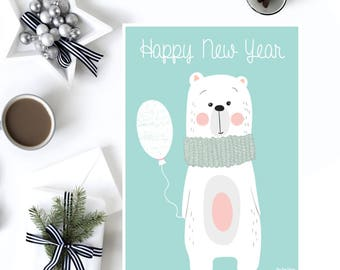 New year card printable, Season's greetings card, Greeting card printable, Digital new year, New year gift printable, New year printable