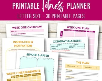 Weight Loss Planner Printable Fitness Journal, Workout Journal, Weight Loss Planner Health and Fitness Printable Workout Planner Letter Size