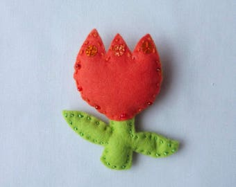 SALE: Felt Tulip brooch – Handmade, Flower, Orange, Mother's Day, Gift Ideas for Women