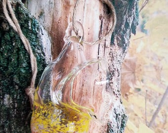 Hand Blown Glass Bird Feeder
