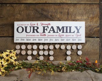 Family Birthday Calendar Rustic Classy Style All Wood Calendar Board A Circle Of Love Our Family Founded on Faith Joined in Love Kept by God
