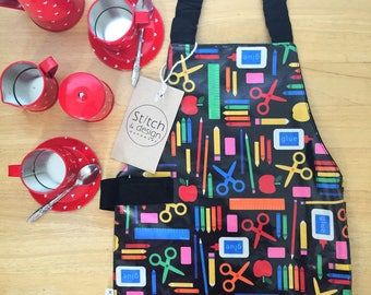 Small Water resistant 'Stationary' Children's Self Sufficiency Apron, pre-school & craft apron fits approx 1-3 year olds