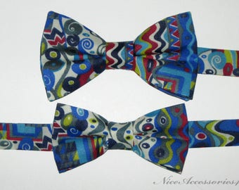 Father Son Matching Bow Ties Gift Set. Liberty Print Men's and Boy's Cotton Bow Ties. Blue, Gray, Red and Yellow Pre-tied Bow tie.