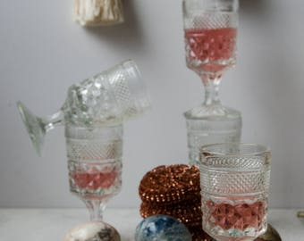 Vintage set of 5 wine glasses.