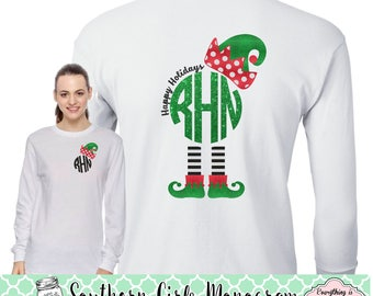 Elf Monogram Shirt - Happy Holidays - Monogram Christmas Shirt - Long Sleeve - Women - Kids - Girls - Merry Christmas Shirt - Monogram