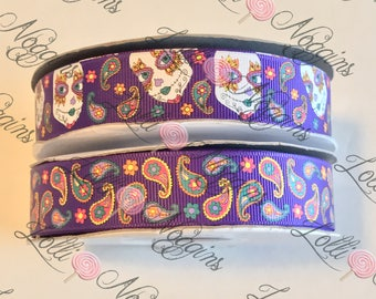 "Day of the Dead /   Día de Muertos / Halloween / Sugar Skulls / Paisley   USDR 7/8"" ribbon   Coordinated grosgrain set for bows and crafts"