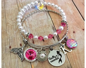 Mermaid Charm Bracelet, Beach Bangle, Beach Bracelet, Birthstone Bracelet, Charm Bangle, Personalized Bracelet, Birthstone Bangle