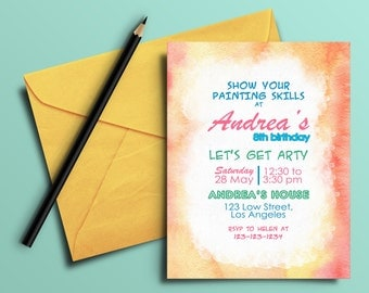 Digital Pottery Painting Party Invitation, Pottery birthday, Painting birthday, Brush Style, Art Party Invitation, Printable Invitate