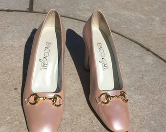 Paco Gil pink pearl heels with gold buckle
