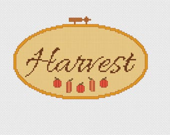 Harvest Embroidery Hoop Cross Stitch Pattern