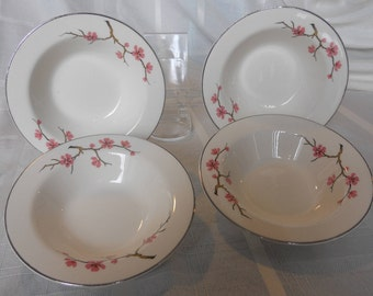 Peach Blossom cereal bowls by Knowles - set of 4 - peach blossoms on gray limbs