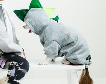 Small dog sweater/ dog dinosaur costume / st patricks day / pet sweater / pet sweatshirt / dinosaur dog hoodie / dinosaur dog sweatshirt